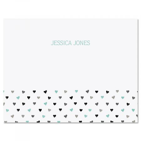 Mini Hearts Personalized Note Cards