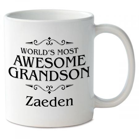 World's Most Awesome Grandson Personalized Mug Your feelings about your grandson are beautifully printed on a mug personalized with his name. Mug is ceramic Measures 4  high Holds 11 ounces Microwave and dishwasher safe Same wording and personalization on both sides Specify name up to 10 characters.