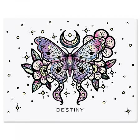 Floral Butterfly Personalized Note Cards