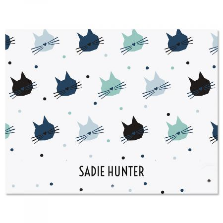 Cat Pattern Personalized Note Cards