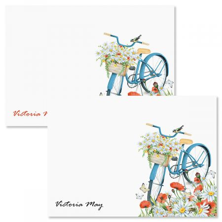Floral Bike Personalized Note Cards
