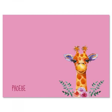 Mini Giraffe Personalized Note Cards