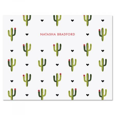 Saguaro Pattern Personalized Note Cards