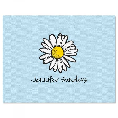 Textile Daisy Personalized Note Cards