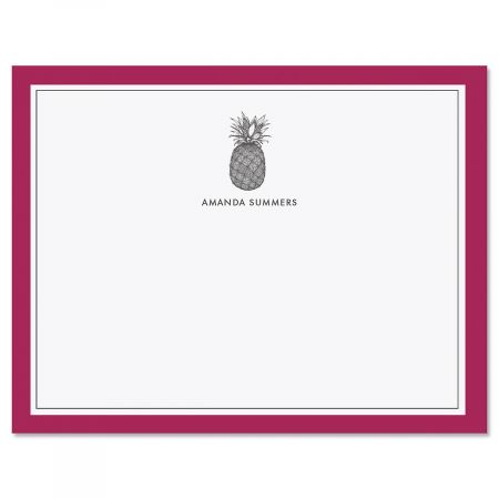 Pineapple Border Personalized Note Cards