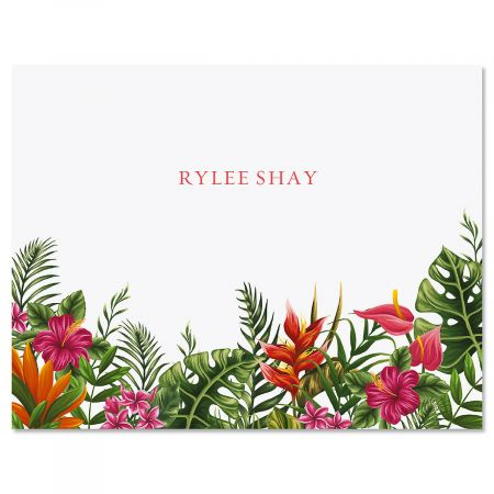 Tropical Foliage Personalized Note Cards