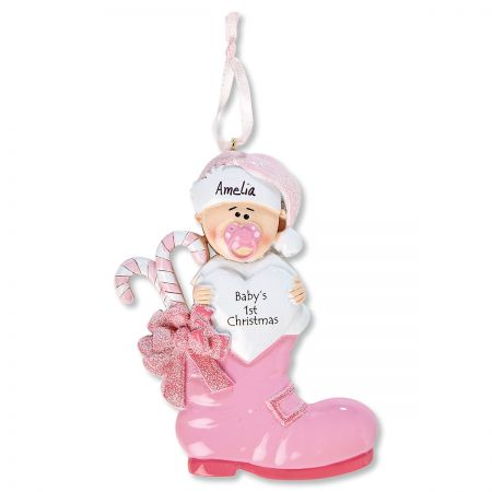 Girl Baby Boots Personalized Ornament