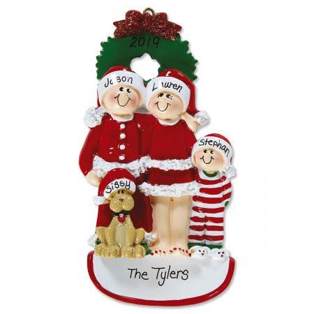 Christmas Eve Family with Dog Personalized Ornament