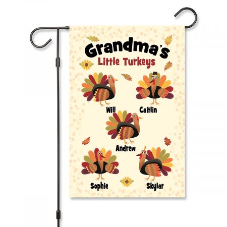 Grandma's Turkeys Personalized Garden Flag