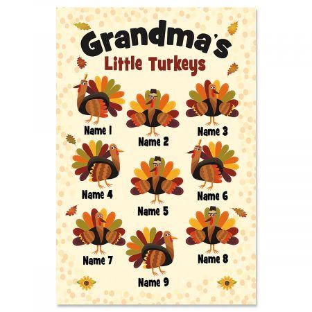 Grandma's Turkeys Personalized Garden Flag - 9 Names Grandma's Turkeys Personalized Garden Flag - 9 Names