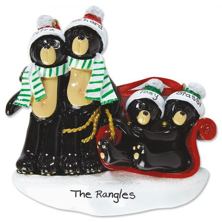 Sledding Bear Family Hand-Lettered Christmas Ornament