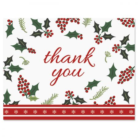 Berry Border Christmas Thank You Cards - BOGO