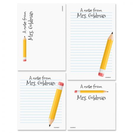 Yellow Pencil Personalized Notepads