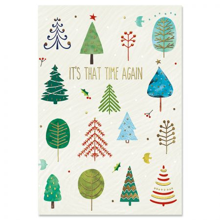 Whimsical Forest Deluxe Foil Christmas Cards
