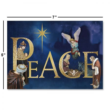 Peace Nativity Deluxe Foil Religious Christmas Cards