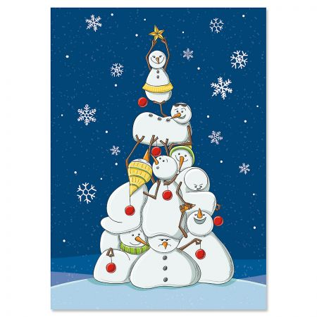 Tower of Snowmen Christmas Cards