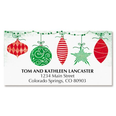 Red & Green Ornaments Deluxe Address Labels