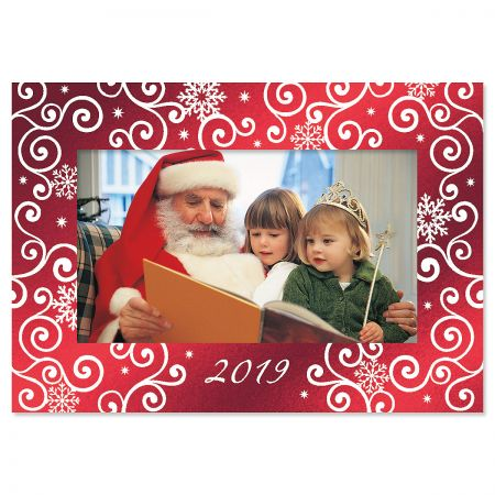 Snowflake Deluxe Photo Sleeve Christmas Cards
