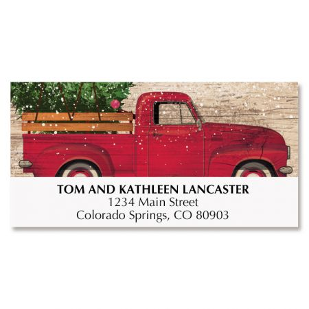 Red Truck Christmas Deluxe Address Labels