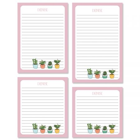 Pink Border Succulents Personalized Notepad Sets
