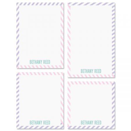 Pastel Lines Personalized Notepad Set Express your pale! Our Pastel Lines personalized notepad sets are great for personal notes, short memos, grocery lists or taking with you while out and about for jotting down quick contact information for new-found friends. Make great anytime gifts for friends and family but be sure to get a set for yourself. Personalized for you. Set of 4 sizes, 100 sheets per pad, gift packaged. Sizes are: 4 1/4  x 4 1/4  4 1/4  x 5  4 1/4  x 6  4 1/4  x 6 3/4  Specify Color choice and 1 Line 12 characters Acrylic Memo Pad Set Holder sold separately (ITEM #: 619781S). Click here to purchase Acrylic Upright Memo Pad Set Holder.