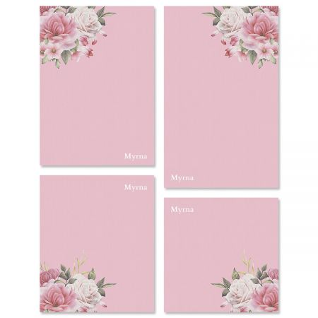 Corner Roses Personalized Notepad Sets