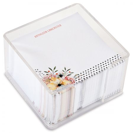 Floral Dots Personalized Note Sheets in a Cube