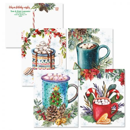 Personalized Marshmallow Christmas Postcards