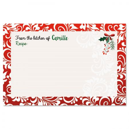 Red Damask Personalized Recipe Cards