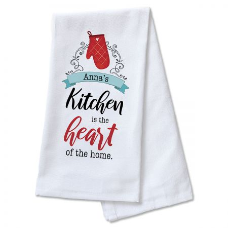 Heart of the Home Personalized Kitchen Towel As well as being wonderful February decor, this towel is soft, 100% cotton valentines gift to someone you hold dear. 16 x 26 . Machine wash/dry. Specify name up to 14 characters.