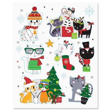 Cats Flat Holiday Magnets