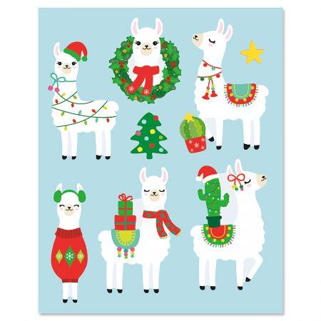 Llamas Flat Holiday Magnets
