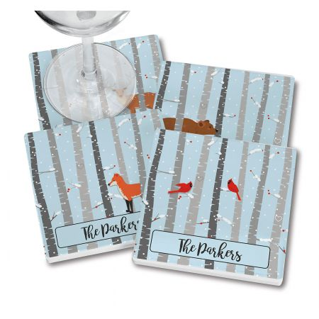 Birch Trees Personalized Ceramic Coasters