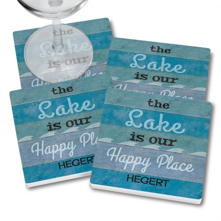 Lake Happy Place Personalized Ceramic Coasters