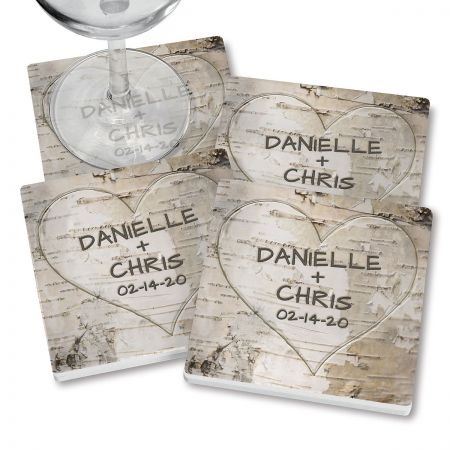 Heart Carving Personalized Ceramic Coasters