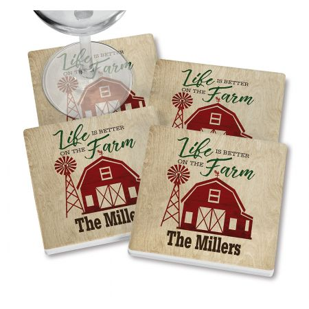 Better on Farm Personalized Ceramic Coasters