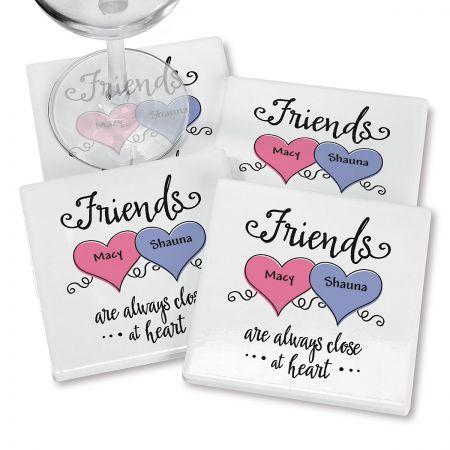 Friends Heart Personalized Ceramic Coasters