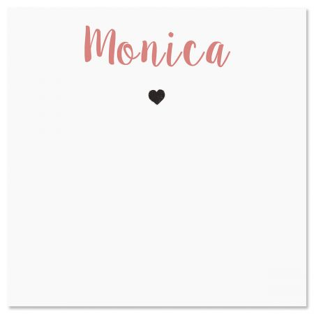 Mini Heart Personalized Note Sheets in a Cube