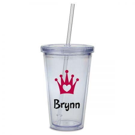 Crown Acrylic Personalized Beverage Cup Double-wall acrylic cup is personalizedno mixups! Screw-on lid helps prevent spills; includes straw. Holds 16 oz, fits in most drink holders, and stands 6 H. BPA free. Hand wash is recommended, not dishwasher safe. Specify up to 8 characters