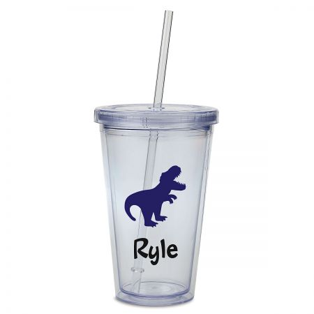 T-Rex Acrylic Personalized Beverage Cup Double-wall acrylic cup is personalizedno mixups! Screw-on lid helps prevent spills; includes straw. Holds 16 oz, fits in most drink holders, and stands 6 H. BPA free. Hand wash is recommended, not dishwasher safe. Specify up to 8 characters