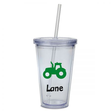 Tractor Acrylic Personalized Beverage Cup Double-wall acrylic cup is personalizedno mixups! Screw-on lid helps prevent spills; includes straw. Holds 16 oz, fits in most drink holders, and stands 6 H. BPA free. Hand wash is recommended, not dishwasher safe. Specify up to 8 characters