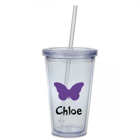 Butterfly Acrylic Personalized Beverage Cup Double-wall acrylic cup is personalizedno mixups! Screw-on lid helps prevent spills; includes straw. Holds 16 oz, fits in most drink holders, and stands 6 H. BPA free. Hand wash is recommended, not dishwasher safe. Specify up to 8 characters