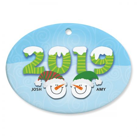 Snowmen Heads Personalized 2019 Ceramic Ornament