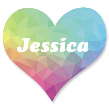Personalized Rainbow Crystal Heart Stickers