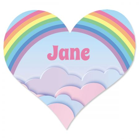 Pastel Rainbow Personalized Heart Stickers
