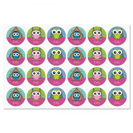 Personalized Colorful Owl Stickers