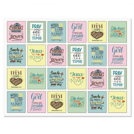 Faith God Loves You Square Stickers