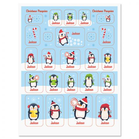 Personalized Christmas Penguins Stickers