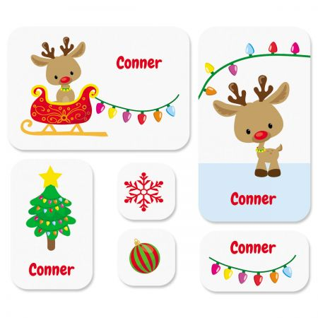 Personalized Christmas Rudolph Stickers