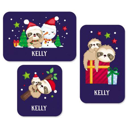 Personalized Christmas Sloth Stickers